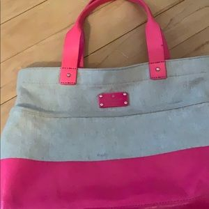 Adorable Kate Spade Neon pink and canvas tote